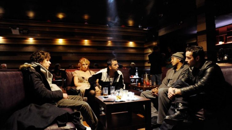 Jesse Eisenberg, Ari Graynor, Danny A. Abeckaser, Q-Tip & David Vadim in Holy Rollers - Production design by Tommaso Ortino