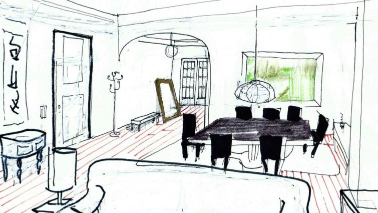A sketch of Lisa's dining room The Good Guy - Production design by Tommaso Ortino